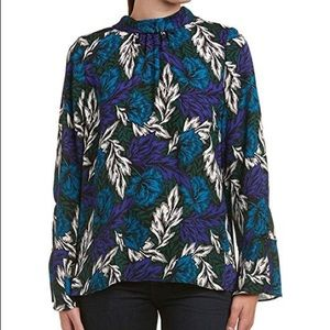 Vince Camuto mock neck woodland floral blouse XL